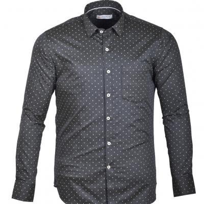 Printed Grey color Slim Formal shirt_S31450